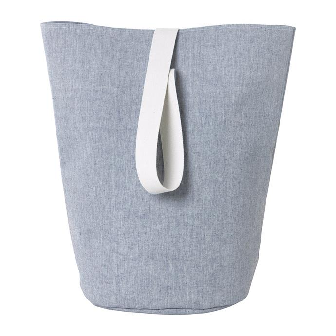 "Ferm Living Chambray basket in blue, $129, from [Amara](https://fave.co/2Igz3ps|target=""_blank""
