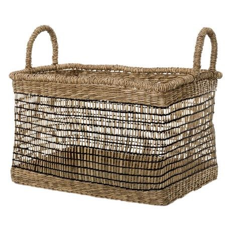 """'Palmas' basket in neutral and black, $29, from [Freedom](https://fave.co/2Im3yuf