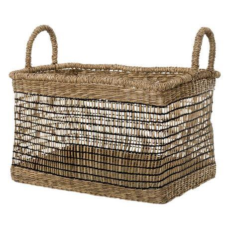 "'Palmas' basket in neutral and black, $29, from [Freedom](https://fave.co/2Im3yuf|target=""_blank""