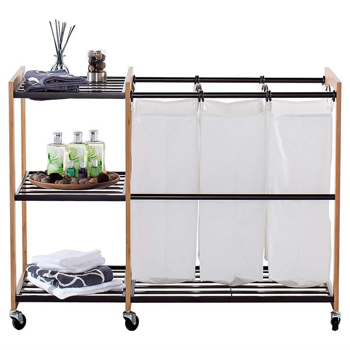 "EcoStorage 'Trinity' cotton 3-bag laundry station with wheels in bronze, $140.59, from [Amazon](https://www.amazon.com.au/Trinity-Cotton-Laundry-Station-wheels/dp/B01AGEE2SK|target=""_blank""
