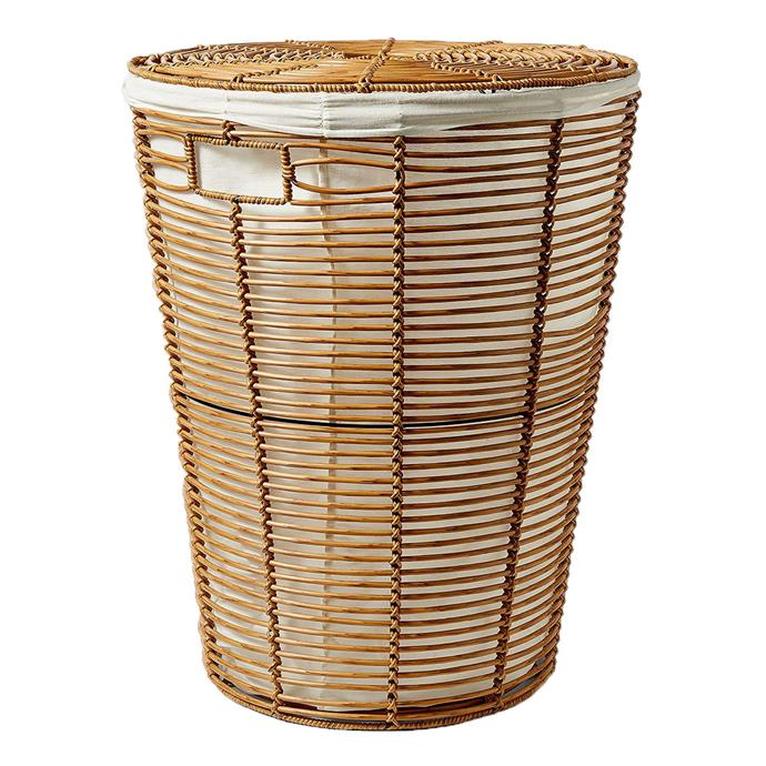 "Woven rattan plastic hamper, $39, from [Target](https://www.target.com.au/p/woven-rattan-plastic-hamper/61942608 |target=""_blank""