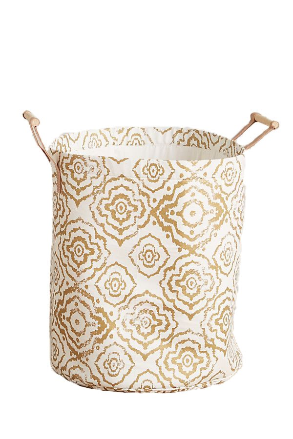 """Watercolour hamper tote in metallic gold with leather and wood handles, $51, from [Anthropologie](https://fave.co/2IfsrYC
