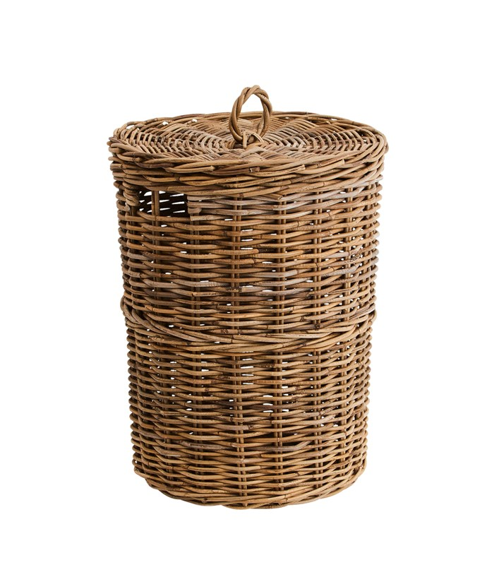 "'Kubu' laundry basket, $103.96, from [Provincial Home Living](https://www.provincialhomeliving.com.au/kubu-laundry-basket|target=""_blank""|rel=""nofollow"")."