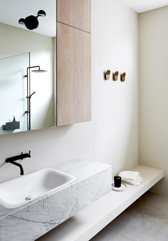 This minimal bathroom designed by Carole Whiting features an Agape 'Ottocento' basin from Artedomus with Brodware 'Yokato' tapware. *Photograph*: Jack Shelton. From *Belle* April 2019.