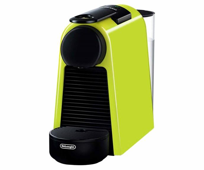 "The Essenza Mini coffee machine in Lime Green, $249, [Nespresso](https://www.nespresso.com/au/en/home|target=""_blank""|rel=""nofollow"")."