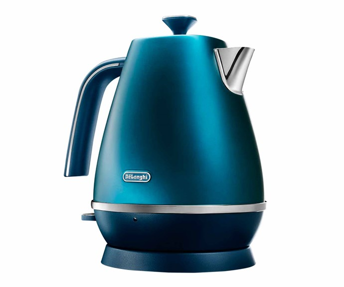 "DeLonghi 'Distinta Flair' electric kettle in Prestige Blue, $169, [Appliances Online](https://www.appliancesonline.com.au/|target=""_blank""|rel=""nofollow"")."