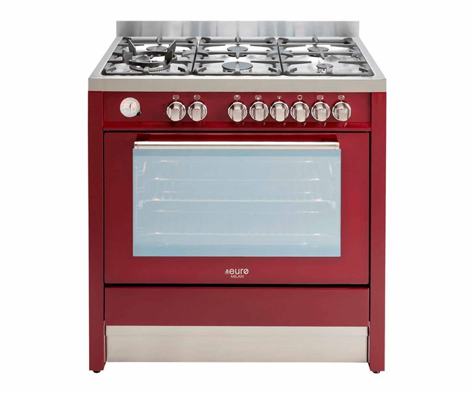 "Euro Appliances freestanding dual fuel oven/stove in Red, $3239, [Appliances Online](https://www.appliancesonline.com.au/|target=""_blank""|rel=""nofollow"")."