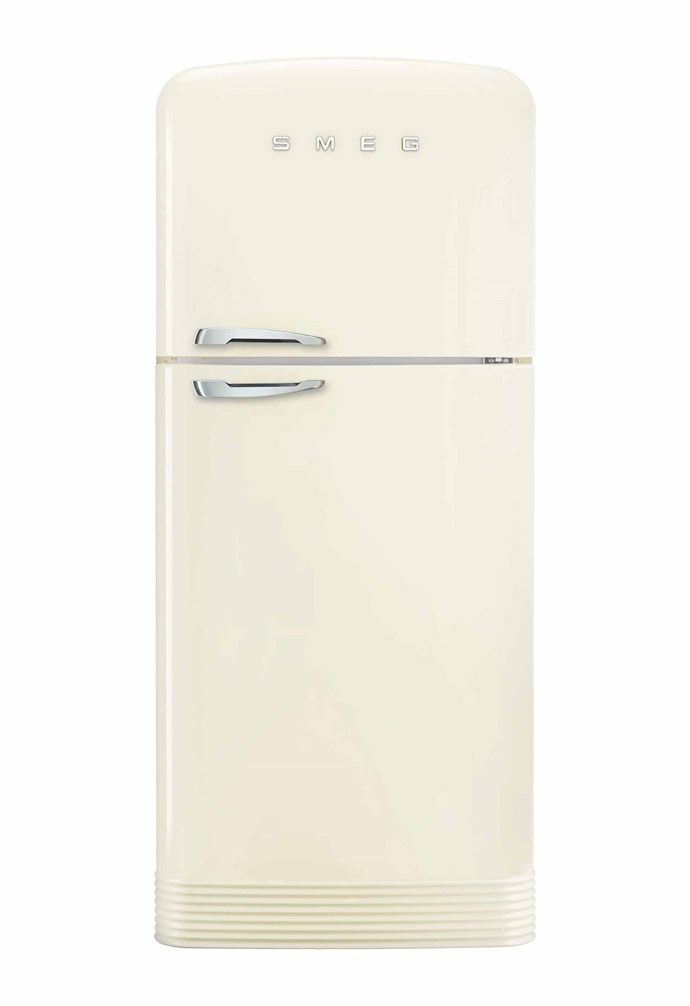 "FAB28 refrigerator/freezer in Cream, $2750, [Smeg](https://www.smeg.com.au/|target=""_blank""|rel=""nofollow"")."