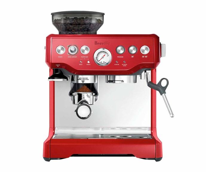 "Breville 'The Barista Express' espresso machine in Cranberry Red, $898, [Appliances Online](https://www.appliancesonline.com.au/|target=""_blank""|rel=""nofollow"")."