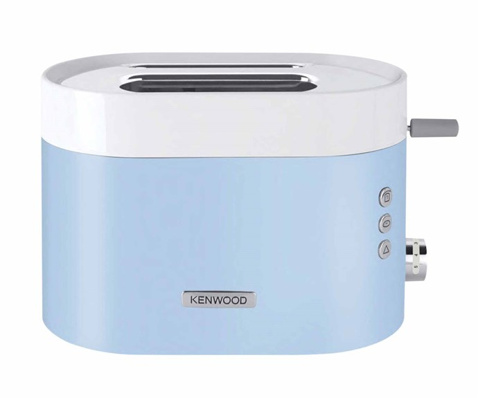 "Kenwood 'KSense' 2 slice toaster in White/Blue, $125, [Harvey Norman](https://www.harveynorman.com.au/|target=""_blank""|rel=""nofollow"")."