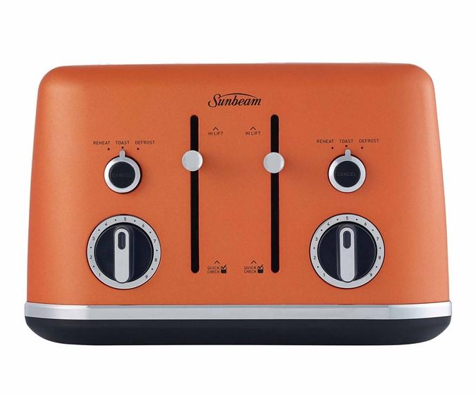 "Gallerie Collection 4 slice toaster in Sunset, $119, [Sunbeam](https://www.sunbeam.com.au/|target=""_blank""|rel=""nofollow"")."