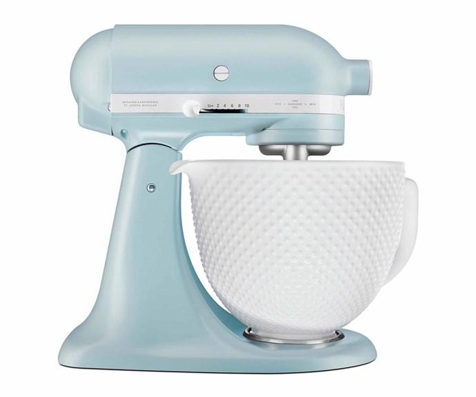 "KitchenAid '100 Years' retro stand mixer in Misty Blue, $1024, [Winning Appliances](https://www.winningappliances.com.au/|target=""_blank""|rel=""nofollow"")."