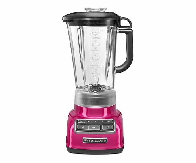 "KitchenAid 'Diamond' blender in Raspberry Ice, $289, [Appliances Online](https://www.appliancesonline.com.au/|target=""_blank""|rel=""nofollow"")."