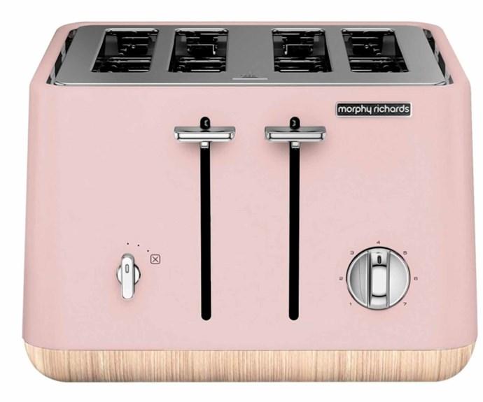 "Morphy Richards 'Scandi Aspect' toaster in Pink, $170, [Appliances Online](https://www.appliancesonline.com.au/|target=""_blank""|rel=""nofollow"")."