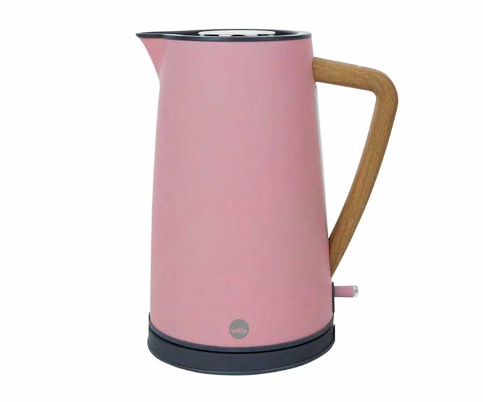 "Wilfa 1.7L spring kettle in Pink, $151, [Royal Design](https://royaldesign.com/|target=""_blank""|rel=""nofollow"")."