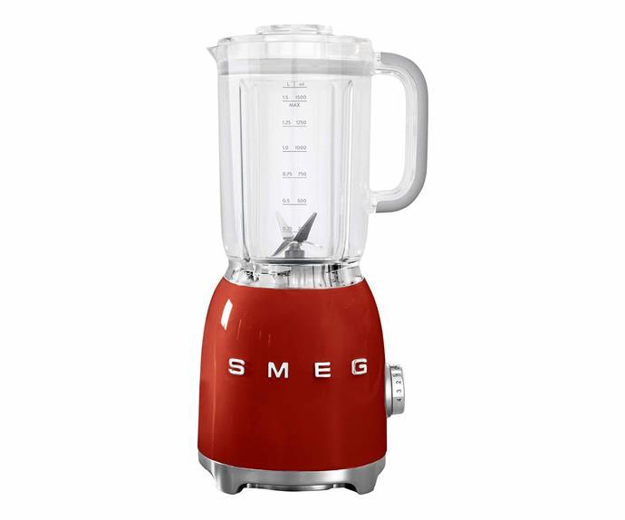 "Retro blender in Red, $299, [Smeg](https://www.smeg.com.au/|target=""_blank""|rel=""nofollow"")."