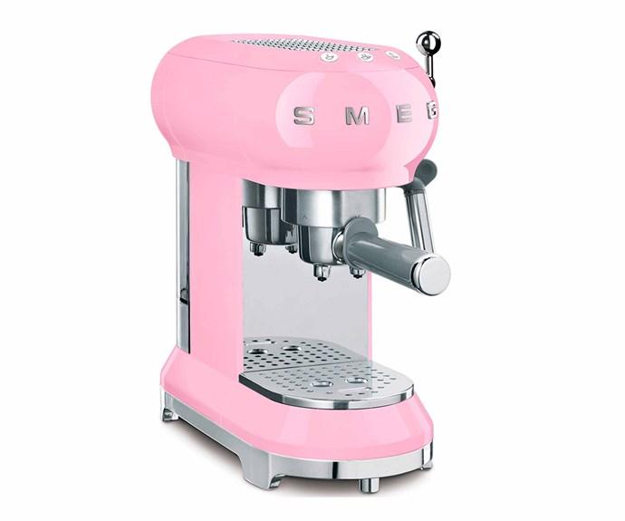 "Retro espresso coffee machine in Pastel Pink, $499, [Smeg](https://www.smeg.com.au/|target=""_blank""|rel=""nofollow"")."