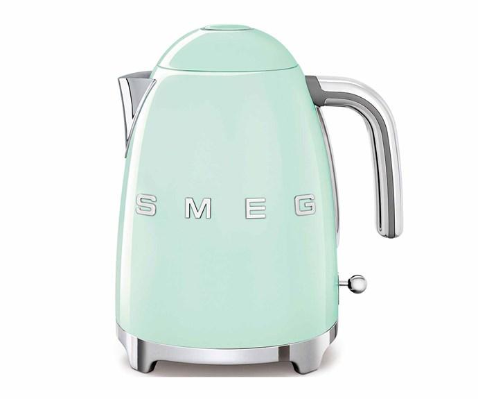 "Retro kettle in Pastel Green, $209, [Smeg](https://www.smeg.com.au/|target=""_blank""|rel=""nofollow"")."