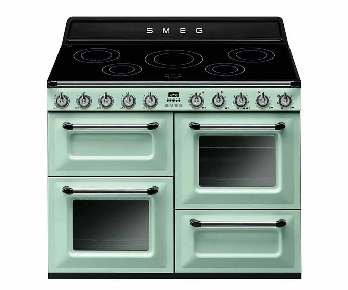 "Smeg 110cm Victoria aesthetic freestanding electric oven/stove in Pastel Green, $10,490, [Appliances Online](https://www.appliancesonline.com.au/|target=""_blank""|rel=""nofollow"")."