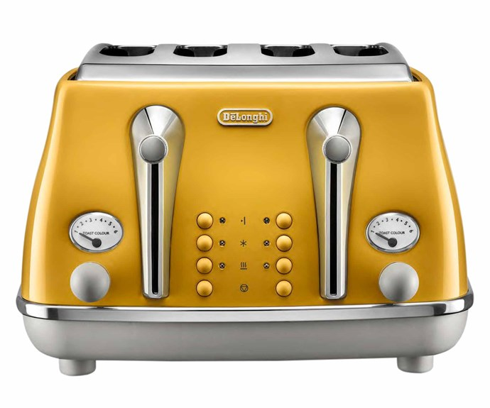 "Icona Capitals 4-slice toaster in New York Yellow, $169, [DeLonghi](https://www.delonghi.com/en-au|target=""_blank""|rel=""nofollow"")."