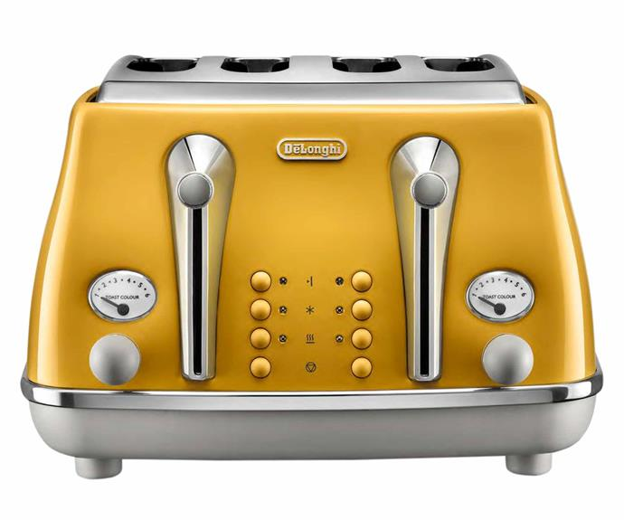 "Icona Capitals 4-slice toaster in New York Yellow, $169, [DeLonghi](https://www.delonghi.com/en-au|target=""_blank""
