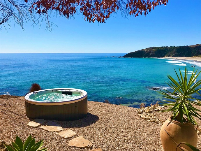 """Perched on the cliff overlooking beautiful Snelling's Beach and across to Kangaroo Island, this heated Jacuzzi at Lifetime Private Retreats' 'Cliff House' is where we'd rather be. Get their in-house catering team prepare you dinner while you soak and sip on some of the regions finest wine. Heaven. Visit [life-time.com.au](https://www.life-time.com.au/cliff-house/