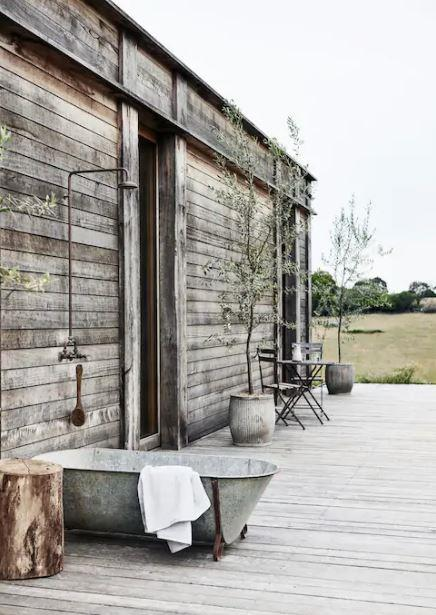 "An architectural country retreat ""built from recycled Oregon and Ironbark"", The Wensley is the epitome of rustic luxury. Explore the Great Ocean Road and surrounding countryside or, if you'd prefer to to stay in, either relax by the fire or enjoy panoramic views from the galvanised french outdoor bath tub in the warmer months. Visit [airbnb.com](https://www.airbnb.com.au/rooms/29642943?guests=1&adults=1