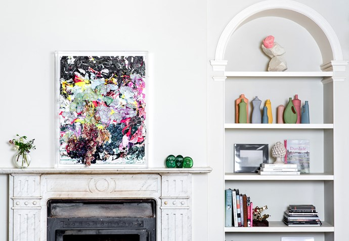 """The homestead's 19th Century heritage is visible with an arched shelf and grand, marble fireplace. On the mantle is an artwork by [Zhuang Hong-Yi](https://www.zhuanghongyi.nl/