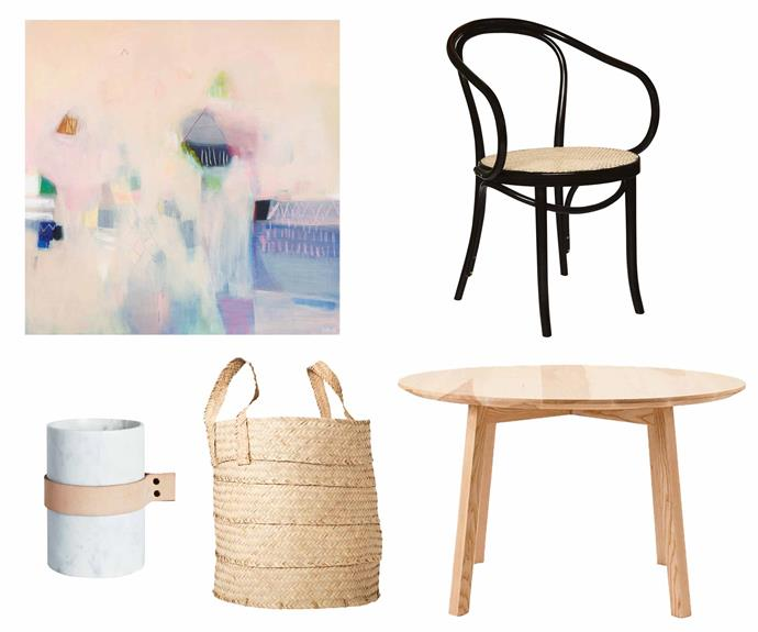 "**Get the look** (clockwise from left) Embellish #18 painting by Lola Donoghue, $2400, [Bloom & Co.](https://bloomandco.com.au/|target=""_blank""