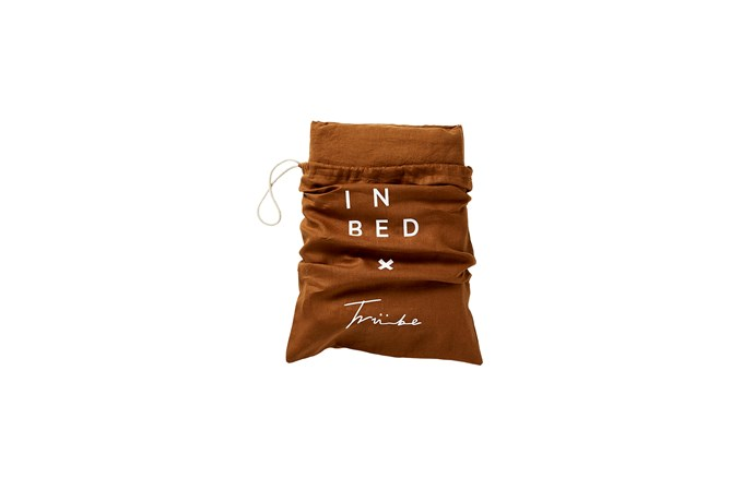 "IN BED x Triibe 100% Linen duvet set in Tobacco, from $340, [In Bed](https://inbedstore.com/shop/bedding/100-linen-duvet-set-in-tobacco/|target=""_blank""|rel=""nofollow"")."