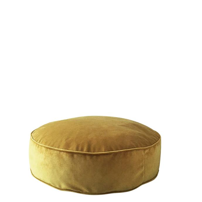 "Velvet Round pouf, in Mustard (60cm x 20cm), $190, [Onyx & Smoke](https://onyxandsmoke.com.au/collections/lux-velvet-collection/products/lux-velvet-round-poufs-ottomans?variant=16083169542215|target=""_blank""