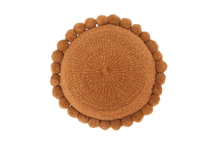 "Monte Pom Pom Cushion #27, $195, [Pampa](https://pampa.com.au/collections/monte-cushions/products/monte-pom-pom-cushion-27|target=""_blank""|rel=""nofollow"")."