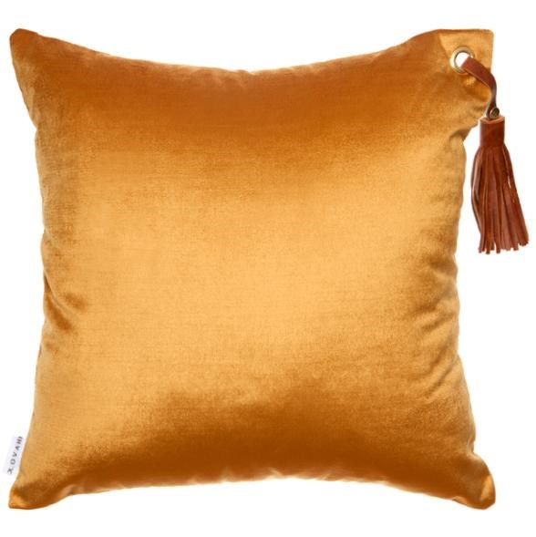 """'Frida' cushion in gold, $150, [Klovah](https://klovah.com/collections/all-cushions/products/frida-gold