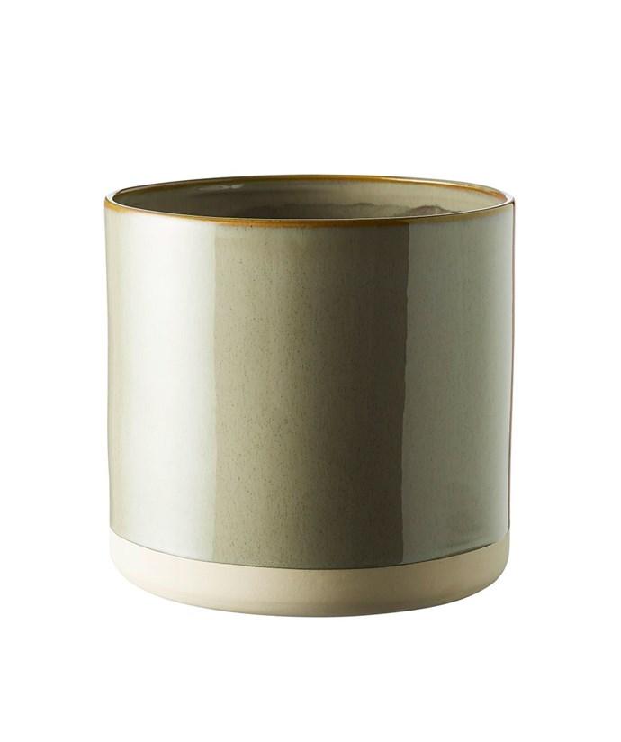 "Milk & Sugar 'Summit' pot in Mineral Green, $29.95, [Hunting For George](https://www.huntingforgeorge.com/summit-pot-milk-and-sugar|target=""_blank""|rel=""nofollow"")."