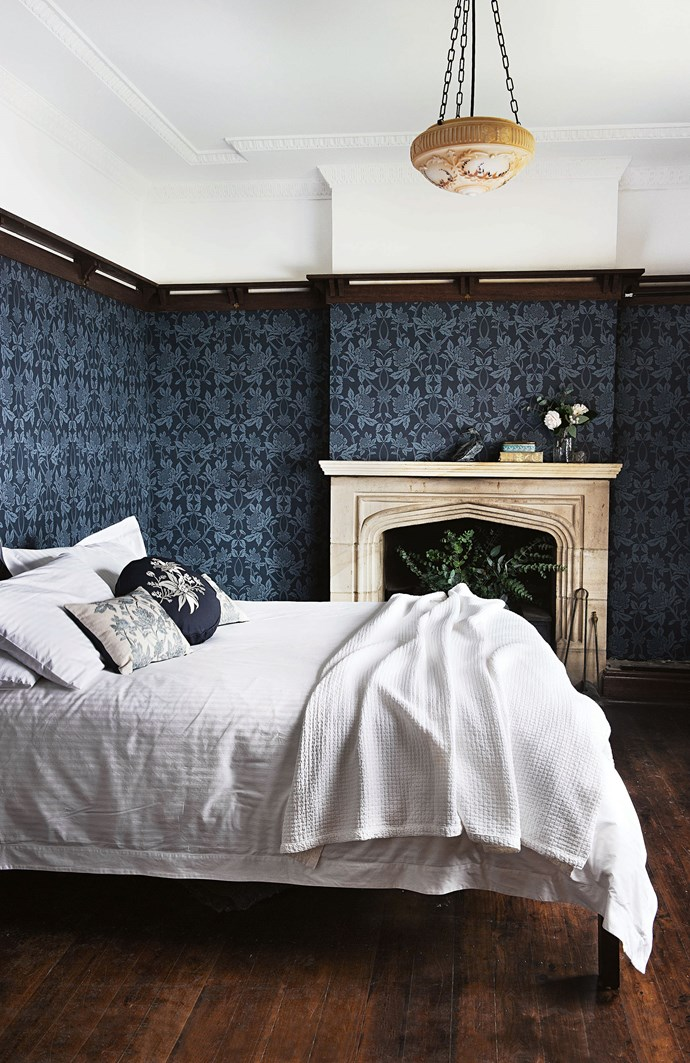 """With Marcel in charge of the heavy lifting, Fiona is focused on the decor, favouring rich textures and colours that echo the original stained-glass windows, including the [wallpaper](https://www.homestolove.com.au/botanical-wallpaper-trend-19192