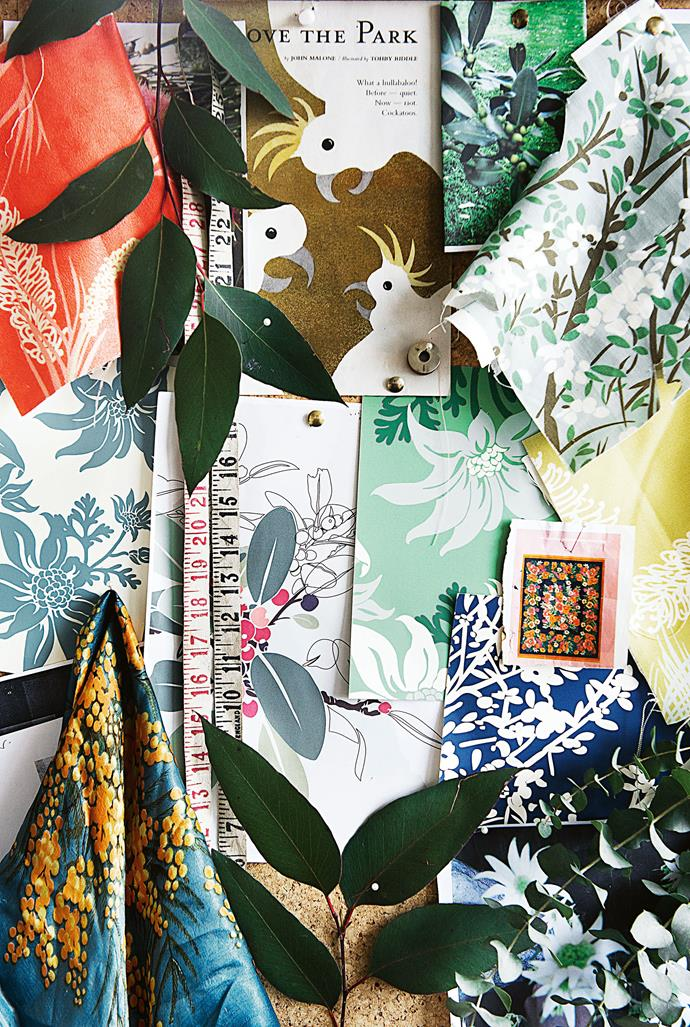 A storyboard for 4 Leaf Clover's 'Botanica Australiana' range, pattern references and designs.