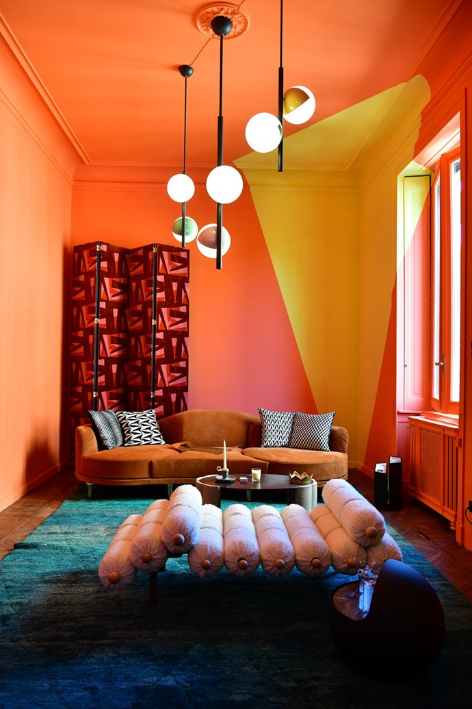 Bold tones project major Milanese glamour at PalermoUno, a gallery by interior designer Sophie Wannenes that's set within a classic apartment in the Brera district. Chaise by Mario Milano in Pierre Frey bouclé.