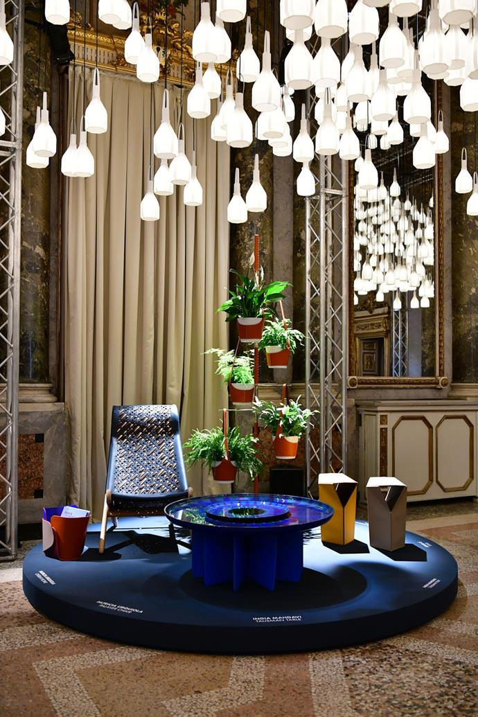 India Mahdavi's cerulean coffee table is among the dazzlingly displayed pieces at Louis Vuitton Objets Nomades.