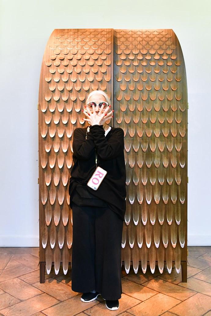 Gallerist and design icon Rossana Orlandi with Trent Jansen's 'Pankalangu' wardrobe, made from Queensland walnut and copper.