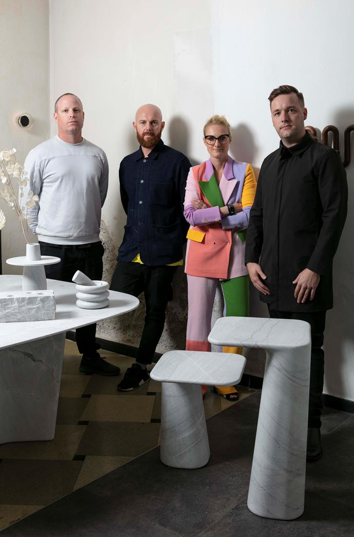 Nick Rennie, Thomas Coward, Emma Elizabeth and Tom Skeehan at Local Milan. Curated by Emma, the exhibition's fourth edition presents extraordinary new work by 44 Australian designers.