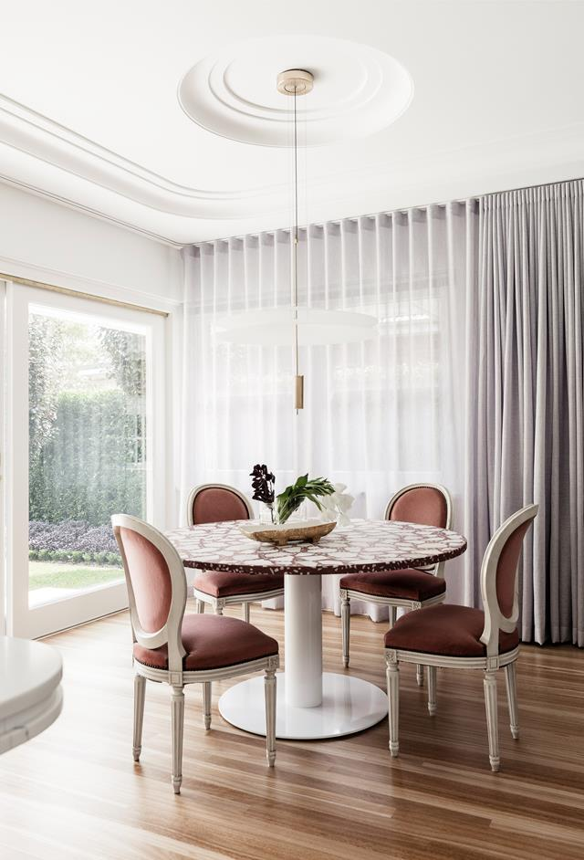 "A revamped [art deco-style home](https://www.homestolove.com.au/art-deco-style-honoured-in-renovation-of-newcastle-home-666|target=""_blank"") boasts a custom table with marble terrazzo top."