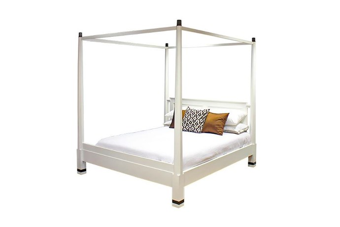 """Pencil mahogany queen four-posted bed, $2525, at [Hudson Furniture](https://www.hudsonfurniture.com.au/products/queen-size-pencil-four-poster-bed