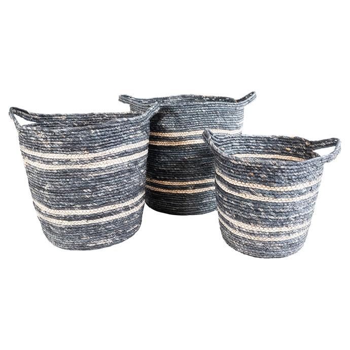 Avon baskets in Corn Husk Navy/Natural, $169.95 for set of 3, Oz Design Furniture.