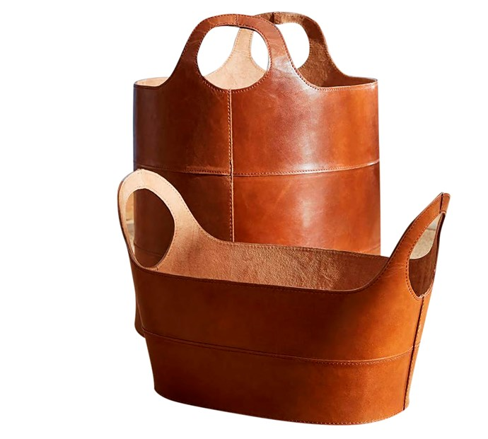"""Hayes Leather storage baskets, $199 for Low Oval and $309 for Floor Tote, [Pottery Barn](http://www.potterybarn.com.au/