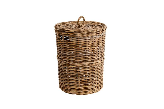 "Kubu laundry basket, $129.95, [Provincial Home Living](https://www.provincialhomeliving.com.au/|target=""_blank""