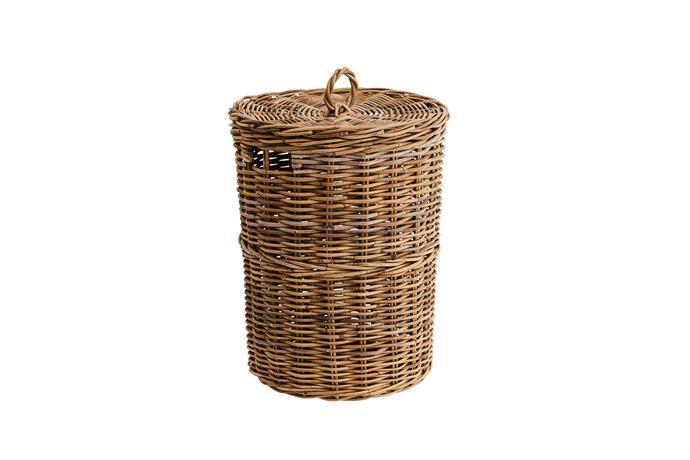 "Kubu laundry basket, $129.95, [Provincial Home Living](https://www.provincialhomeliving.com.au/|target=""_blank""|rel=""nofollow"")."