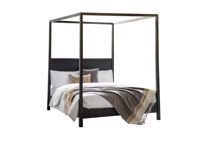 """Boho Boutique mangowood king four-posted bed, $1999, [Temple & Webster](https://www.templeandwebster.com.au/Boho-Boutique-4-Poster-Bed-BECS1332.html