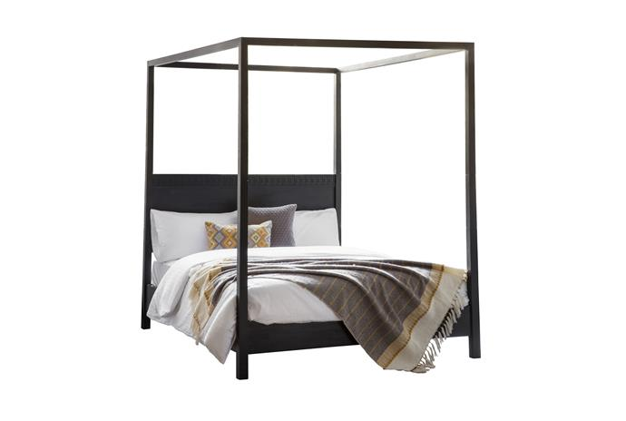 "Boho Boutique mangowood king four-posted bed, $1999, [Temple & Webster](https://www.templeandwebster.com.au/Boho-Boutique-4-Poster-Bed-BECS1332.html|target=""_blank""