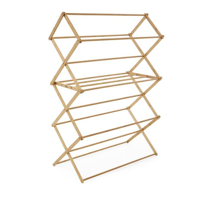 "Hills Foldable Concertina Bamboo Airer, $49, [Big W](https://www.bigw.com.au/product/hills-foldable-concertina-bamboo-airer/p/813123/|target=""_blank""|rel=""nofollow"")."