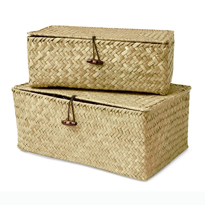 "Woven storage boxes, $12 (for 2), [Kmart](https://www.kmart.com.au/product/2-storage-boxes/2127863|target=""_blank""